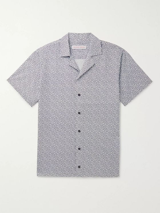 Orlebar Brown Travis Camp-Collar Printed Cotton and Linen-Blend Shirt