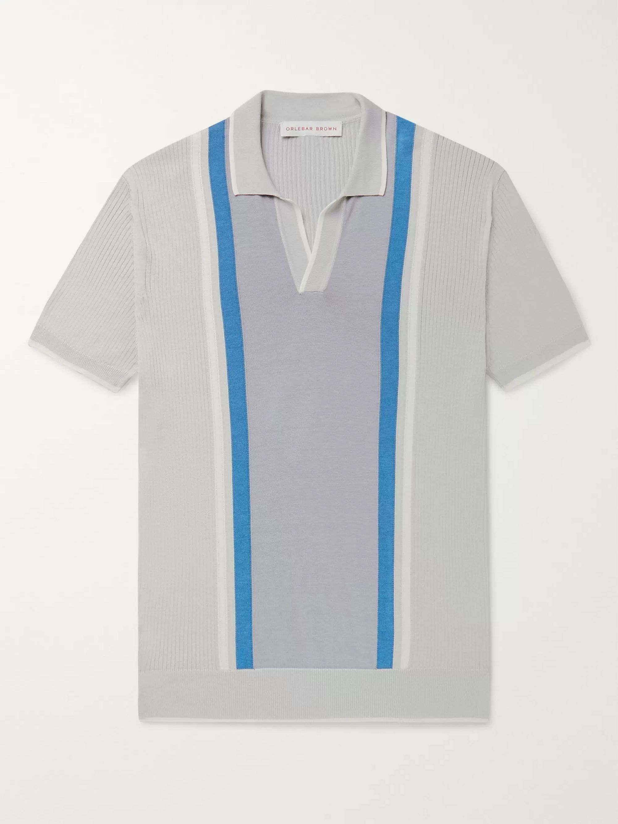 Orlebar Brown Horton Slim-Fit Striped Silk and Cotton-Blend Polo Shirt
