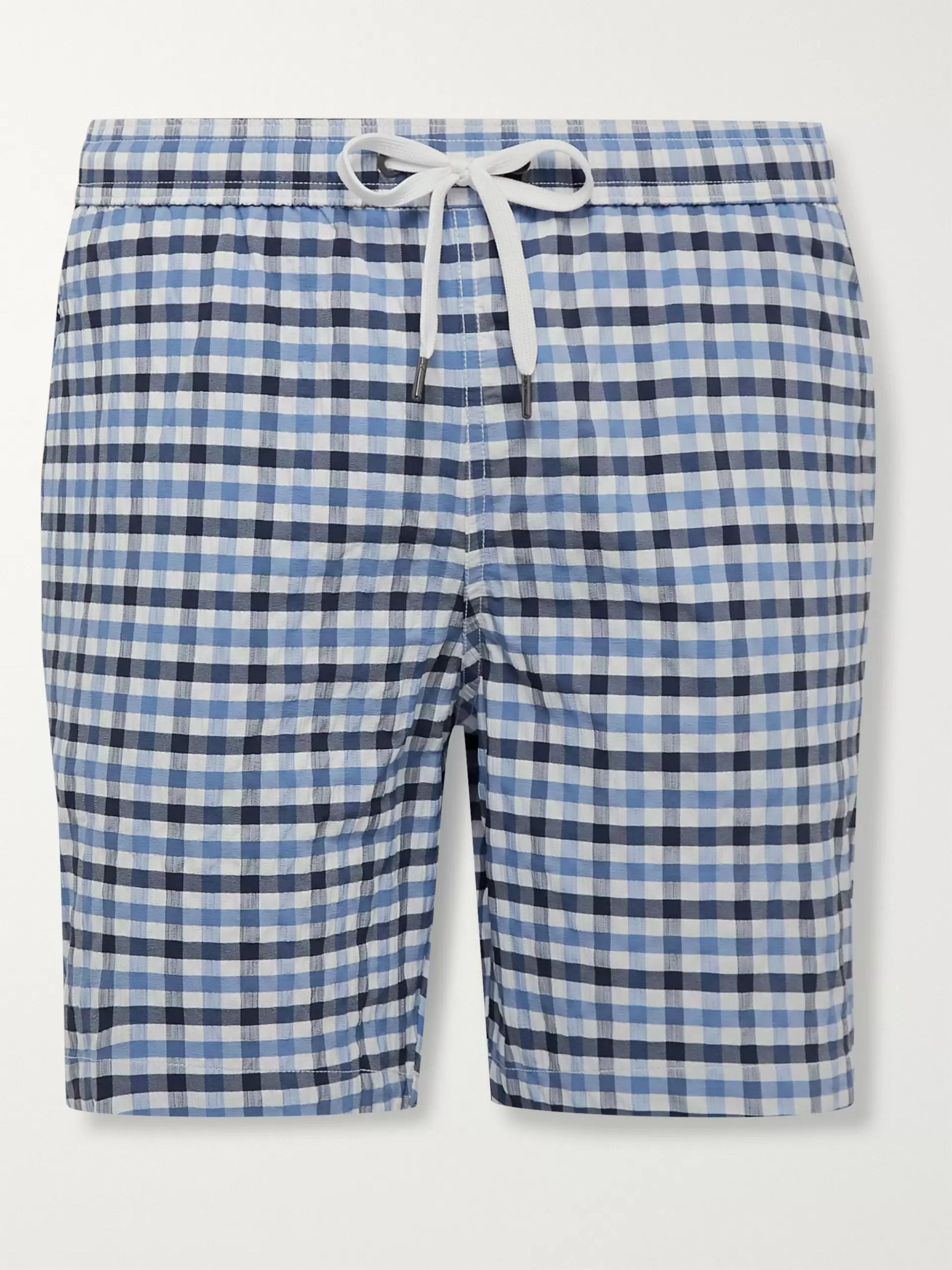 Onia Charles Long-Length Gingham Seersucker Swim Shorts