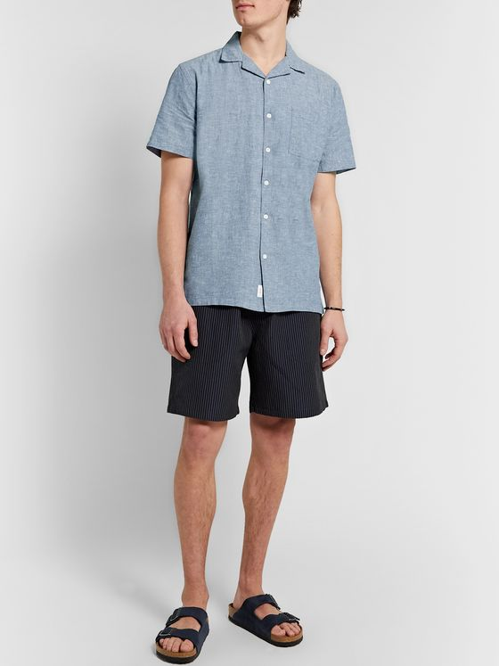 Onia Vacation Camp-Collar Mélange Linen and Cotton-Blend Shirt