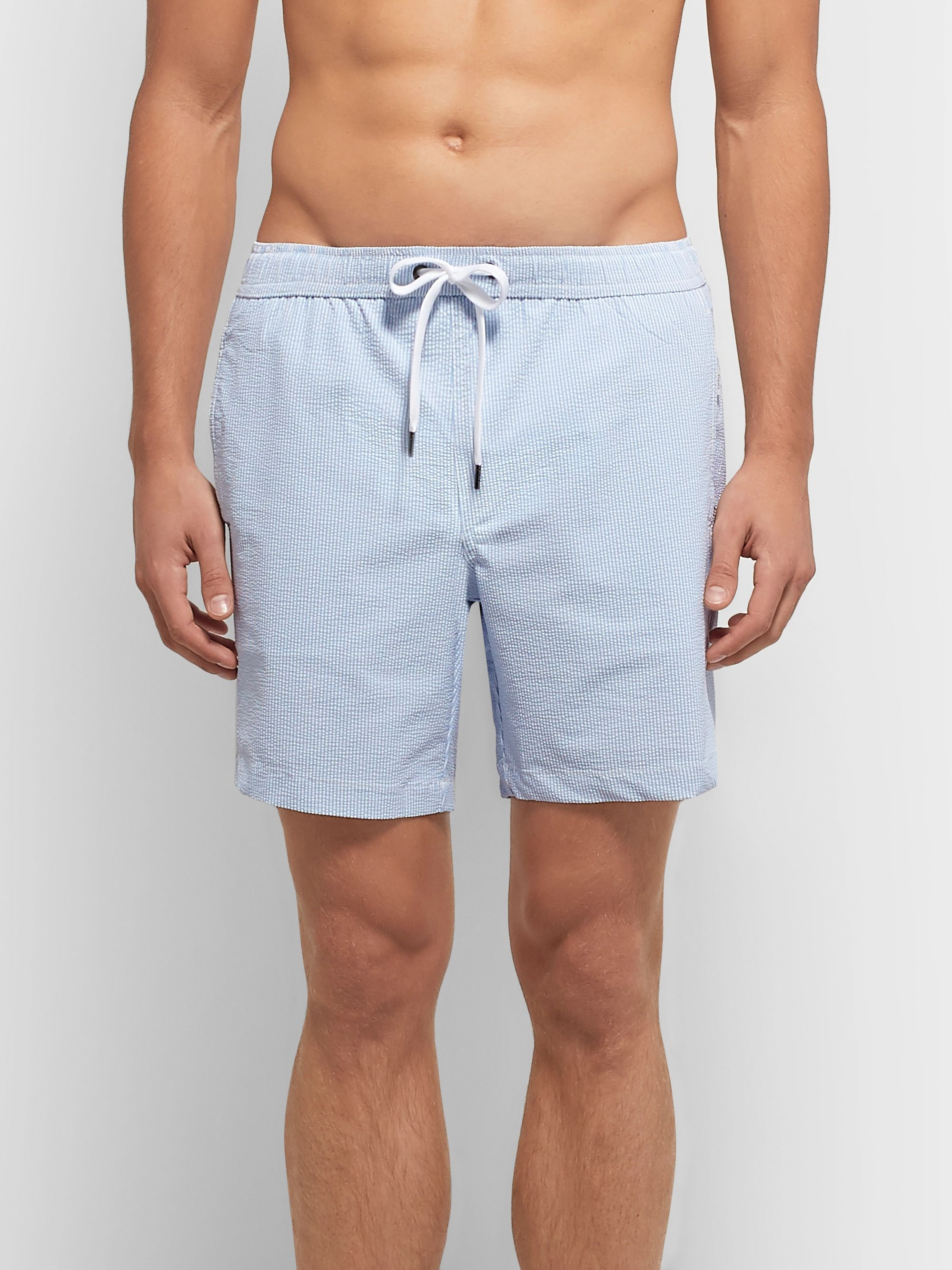 Onia Charles Long-Length Striped Seersucker Swim Shorts