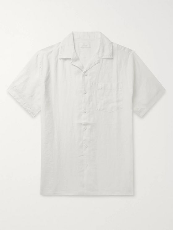 Onia Vacation Camp-Collar Linen Shirt