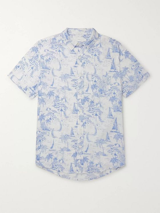 Onia Jack Button-Down Collar Printed Linen Shirt