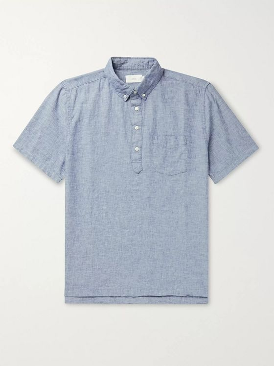 Onia Josh Button-Down Collar Linen and Cotton-Blend Half-Placket Shirt
