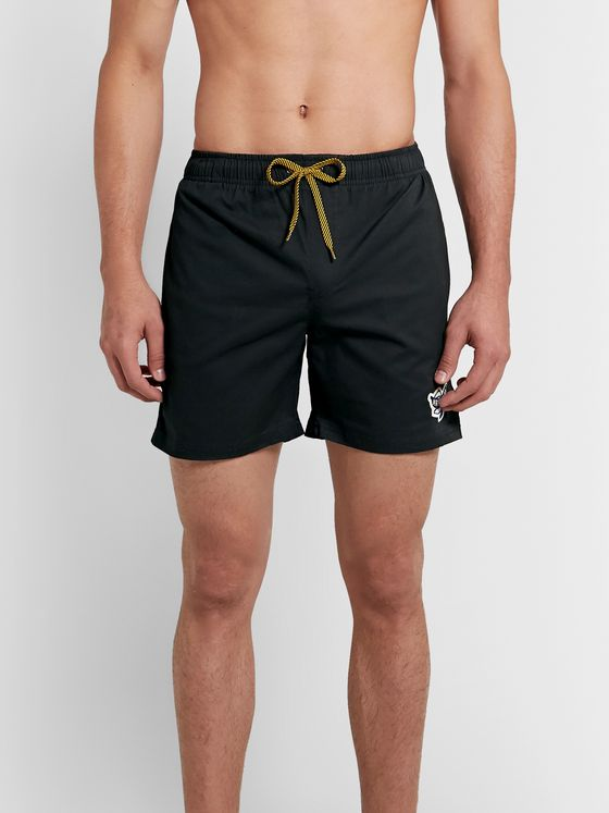 Mami Wata Black Mamba Slim-Fit Mid-Length Appliquéd Swim Shorts