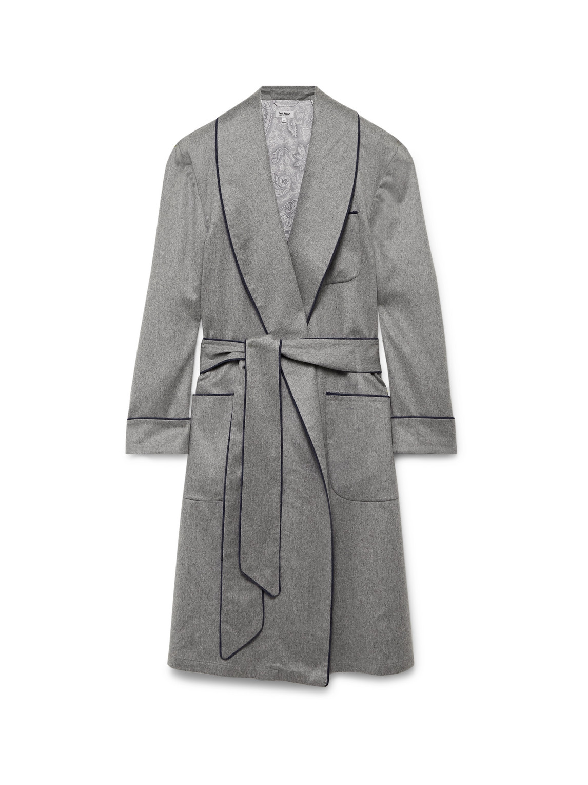 paul stuart - piped checked wool and cashmere-blend robe - men - gray
