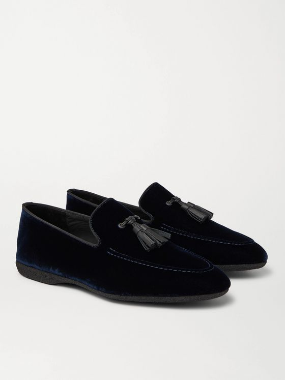 PAUL STUART Grosgrain and Leather-Trimmed Velvet Tasselled Slippers
