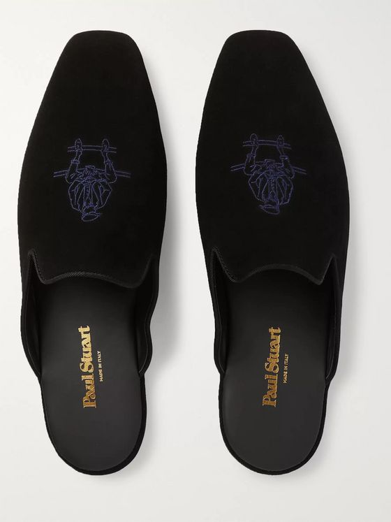 Paul Stuart Hamilton Logo-Embroidered Suede Slippers