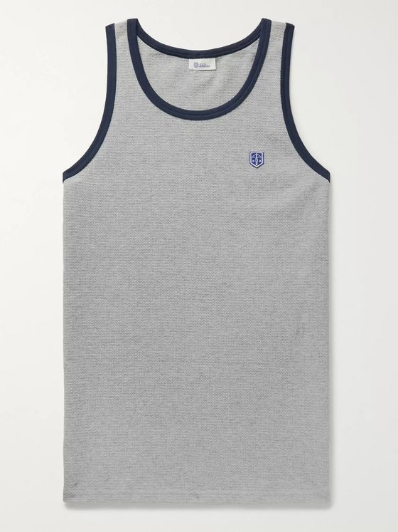 Schiesser Leo Contrast-Tipped Textured Cotton-Jersey Tank Top