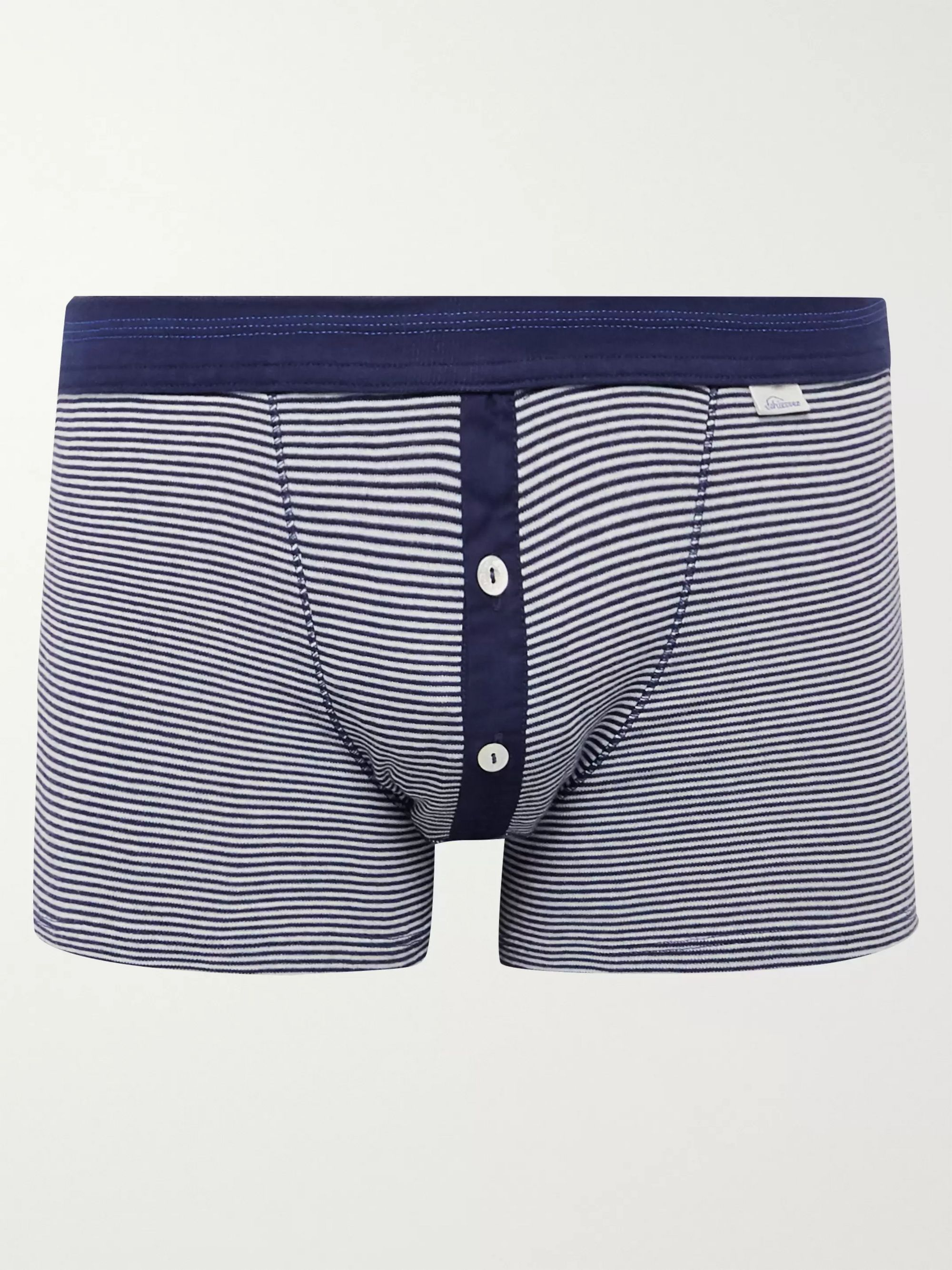 Schiesser Karl Heinz Striped Cotton-Jersey Boxer Briefs