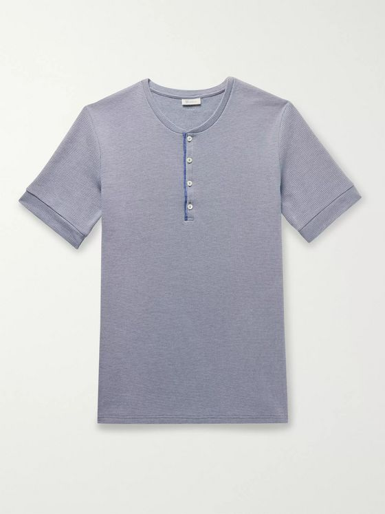 SCHIESSER Ernst Striped Ribbed Cotton Henley T-Shirt
