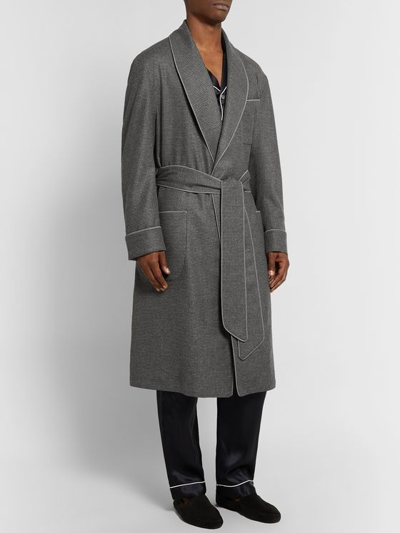PAUL STUART Piped Puppytooth Cashmere Robe