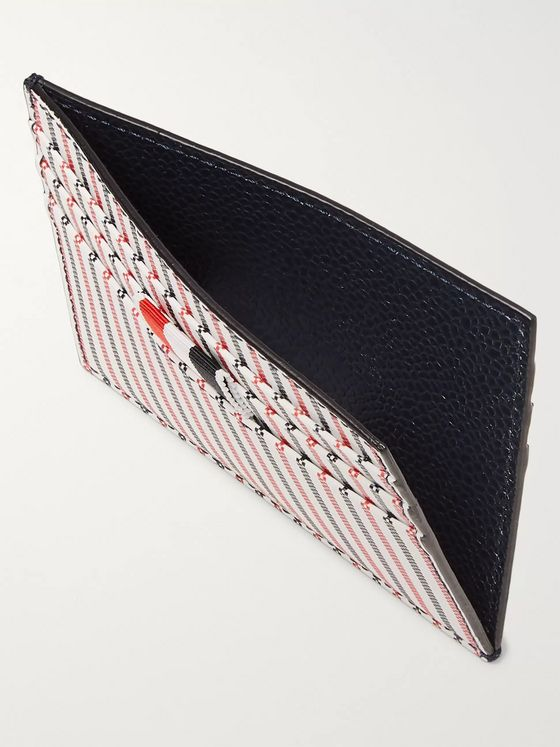 Thom Browne Striped Grosgrain-Trimmed Coated-Leather Cardholder