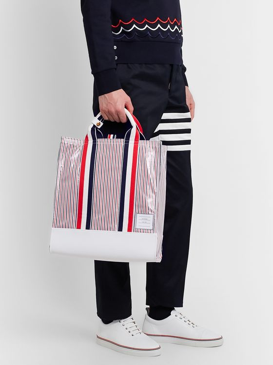 Thom Browne Leather-Trimmed Striped Coated-Seersucker Tote Bag