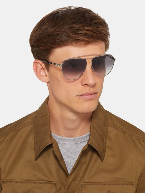 TOM FORD Binx Aviator-Style Silver-Tone Sunglasses