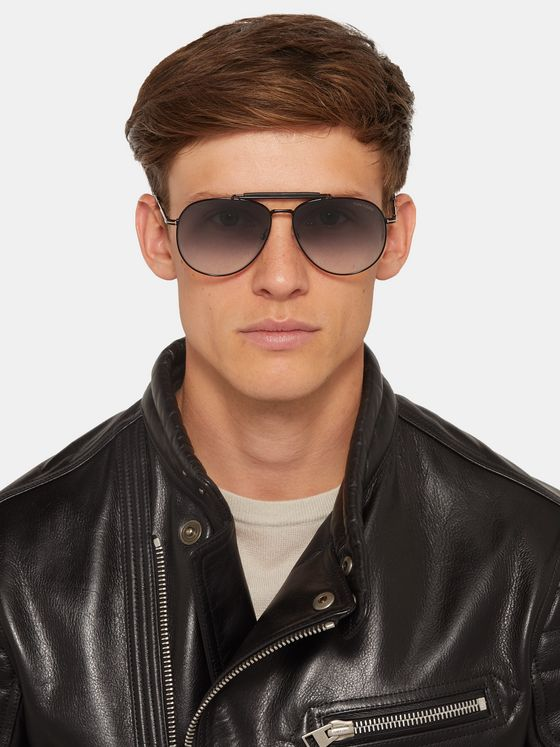 TOM FORD Aviator-Style Metal Sunglasses