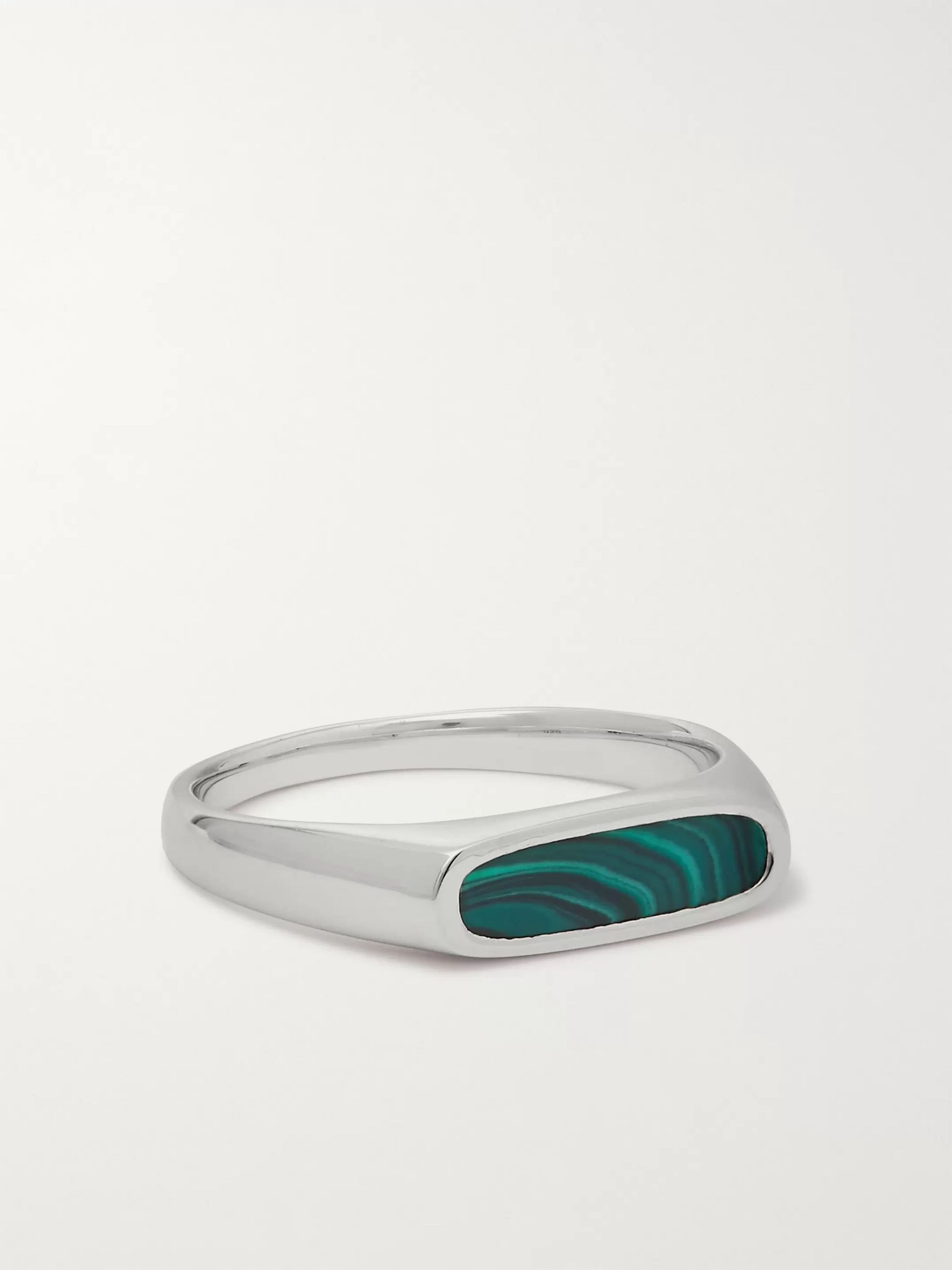 Tom Wood Mario Sterling Silver Malachite Ring