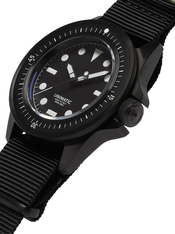 UNIMATIC U1-FN Automatic DLC-Coated Stainless Steel and Webbing Watch