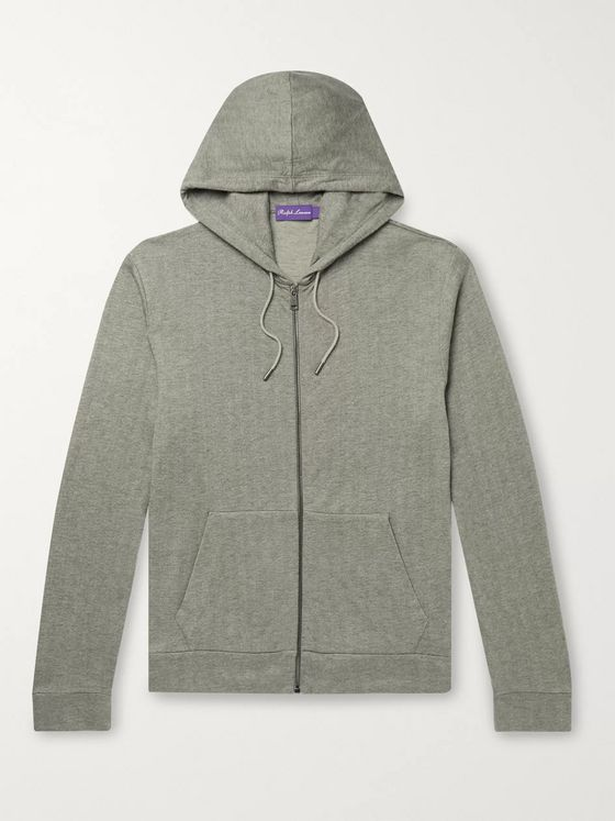 Ralph Lauren Purple Label Herringbone Modal and Cotton-Blend Zip-Up Hoodie