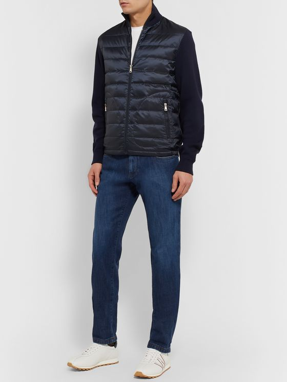 Ralph Lauren Purple Label Slim-Fit Panelled Merino Wool and Quilted Shell Down Zip-Up Sweater