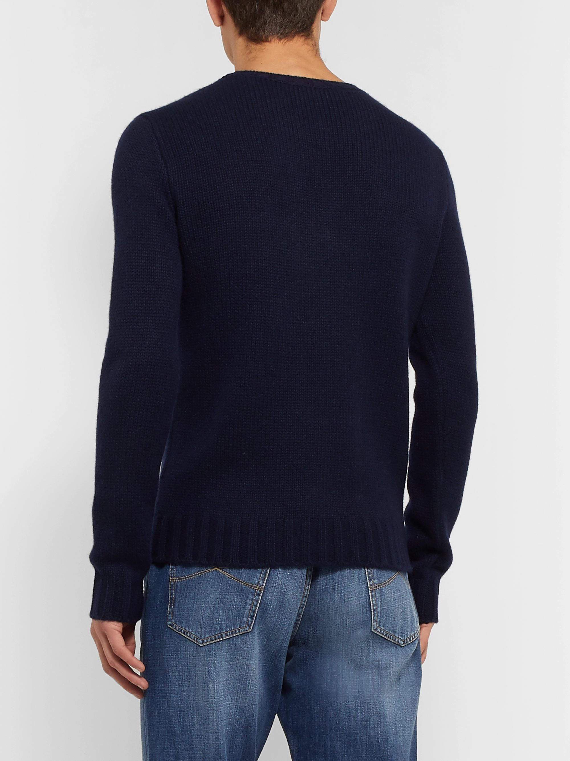 Ralph Lauren Purple Label Slim-Fit Intarsia Cashmere Sweater