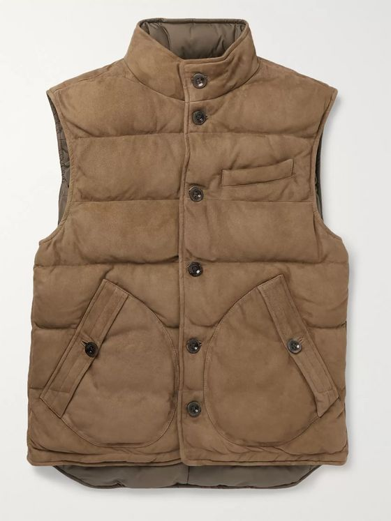 Ralph Lauren Purple Label Reversible Quilted Suede and Shell Down Gilet