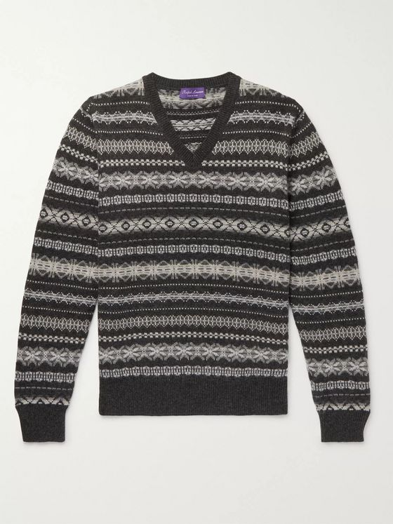 Ralph Lauren Purple Label Fair Isle Cashmere Sweater
