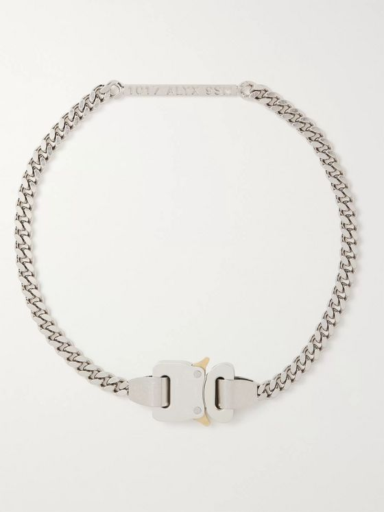 1017 ALYX 9SM Logo-Detailed Silver-Tone Chain Necklace