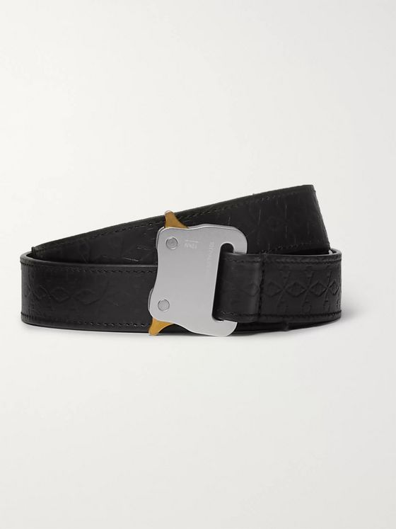 1017 ALYX 9SM 4.5cm Black Embossed Leather Belt