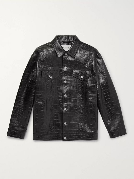 1017 ALYX 9SM Oversized Croc-Effect Leather Overshirt