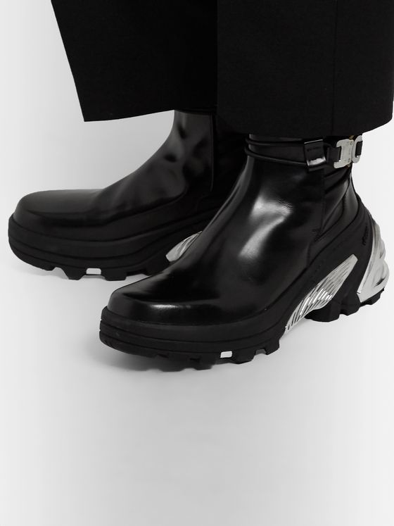 1017 ALYX 9SM Leather and Silver-Tone Chelsea Boots