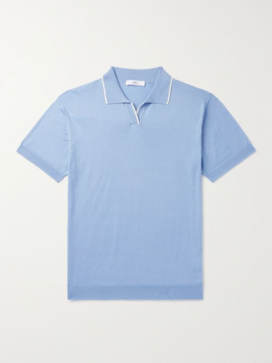 MR P. Contrast-Tipped Cotton Golf Polo Shirt