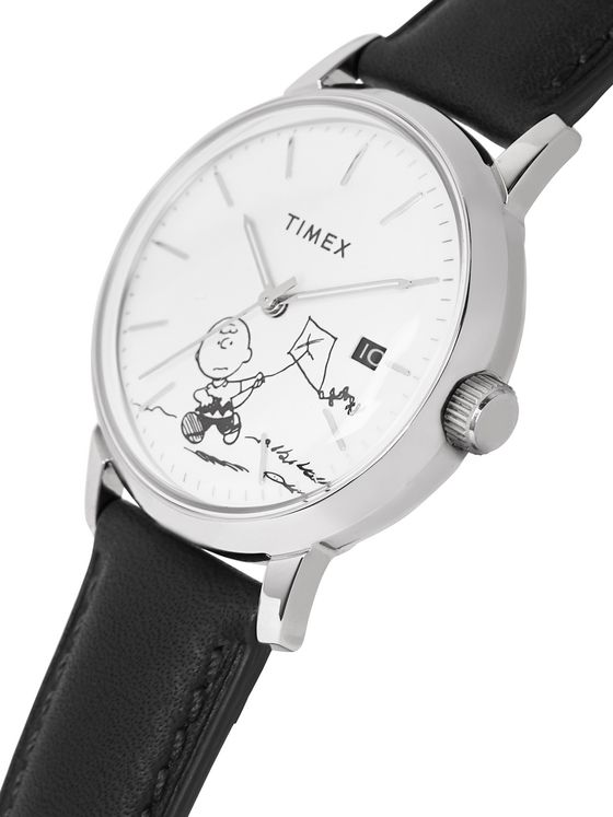 Timex + Peanuts Marlin Stainless Steel and Leather Watch