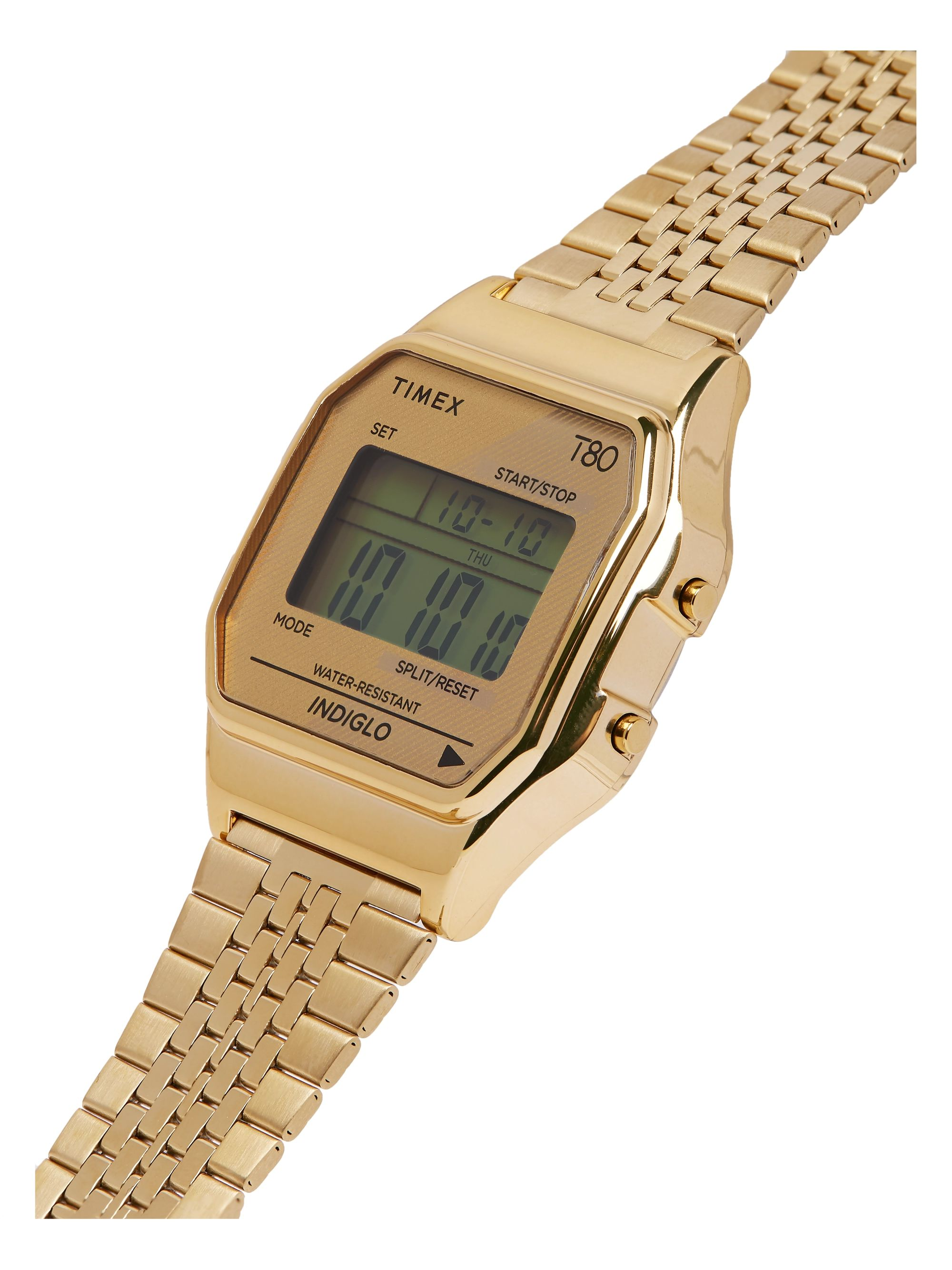 Timex T80 34mm Gold-Tone Stainless Steel Digital Watch