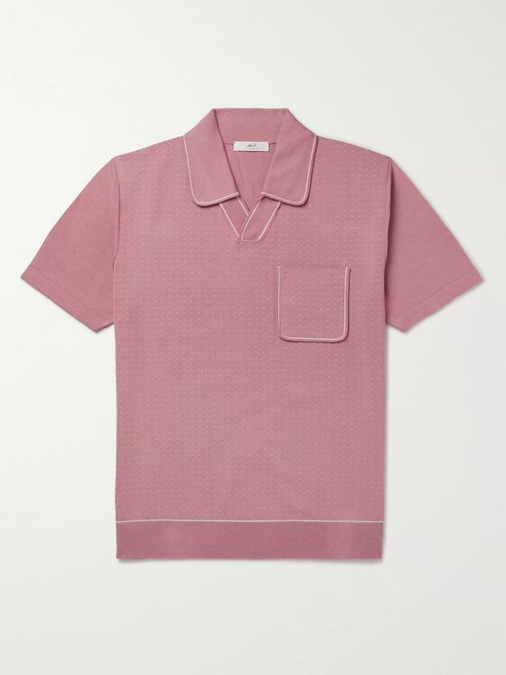 Mr P. Contrast-Tipped Cotton-Jacquard Polo Shirt