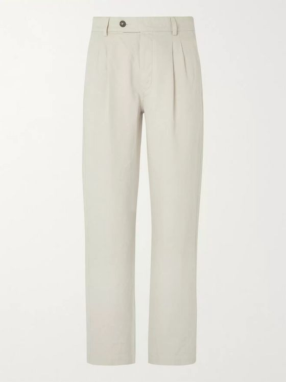 Mr P. Pleated Cotton and Linen-Blend Suit Trousers