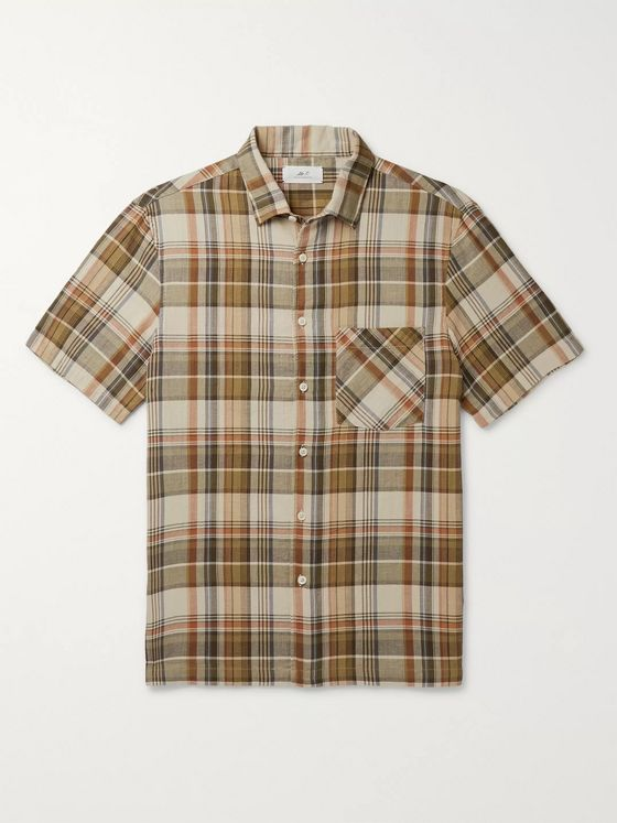 MR P. Convertible-Collar Checked Cotton Shirt