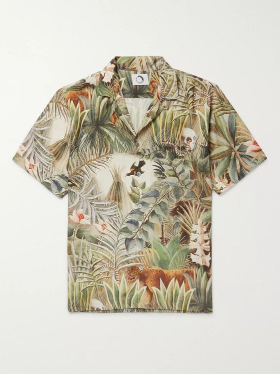 Endless Joy Equatorial Jungle Camp-Collar Printed Woven Shirt