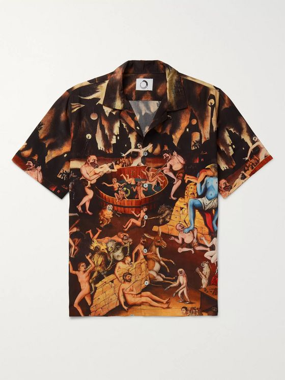 Endless Joy Kato Kosmos Camp-Collar Printed Silk-Crepe Shirt