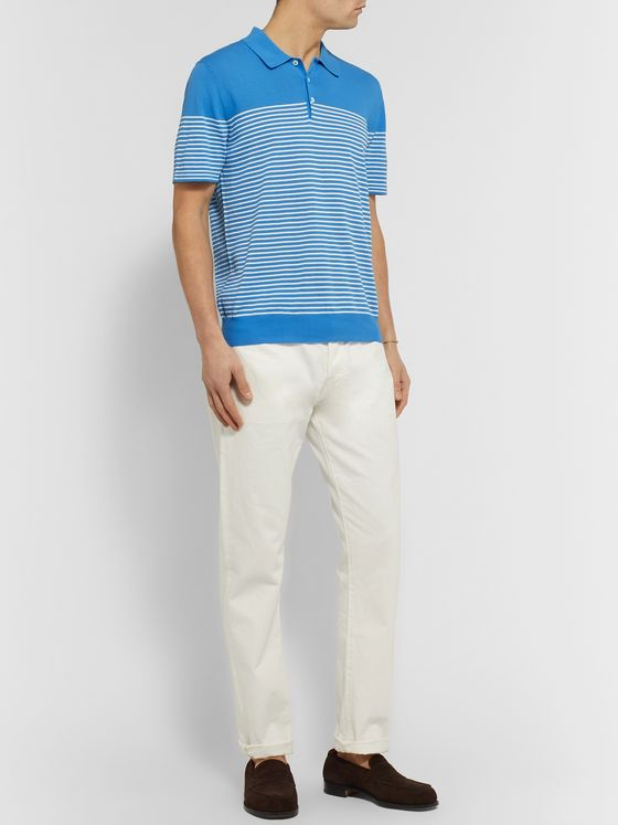 MR P. Striped Cotton Polo Shirt