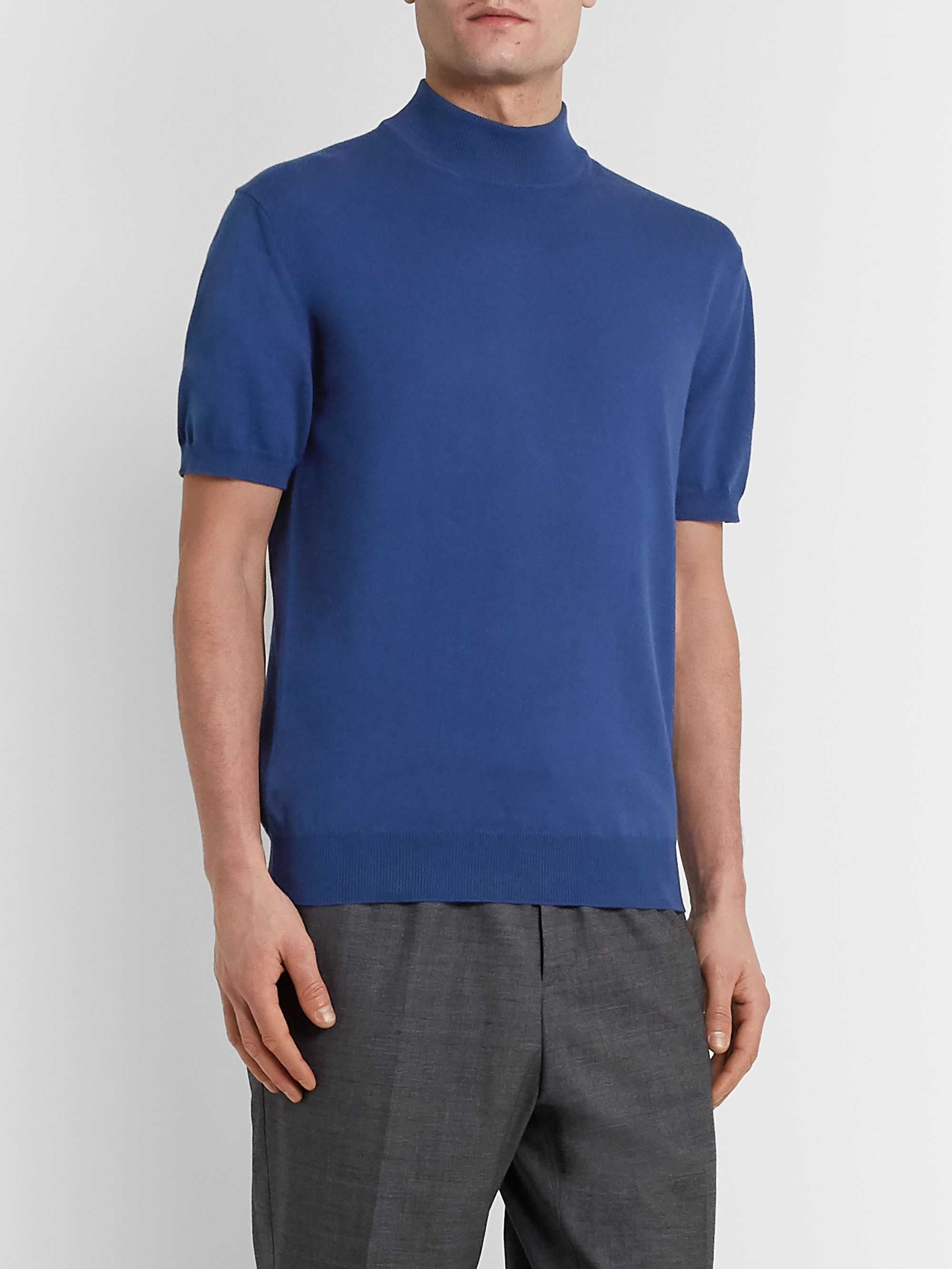 Mr P. Cotton Mock-Neck Sweater