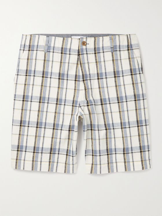 MR P. Checked Cotton and Linen-Blend Golf Shorts