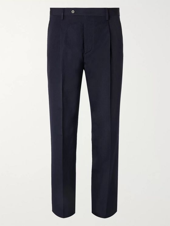 MR P. Navy Slim-Fit Tapered Pleated Wool and Linen-Blend Trousers