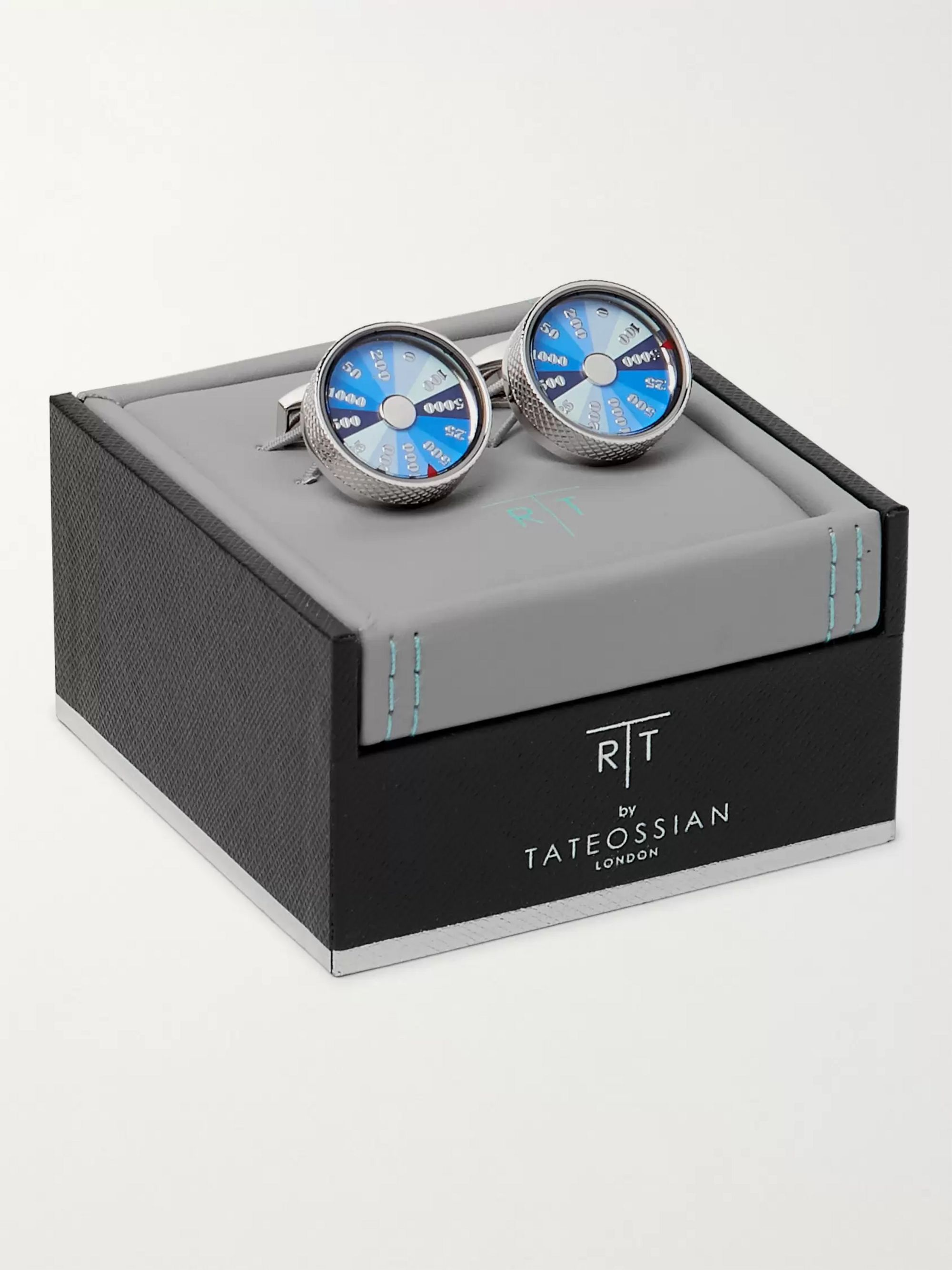 TATEOSSIAN Wheel of Fortune Rhodium-Plated and Enamel Cufflinks