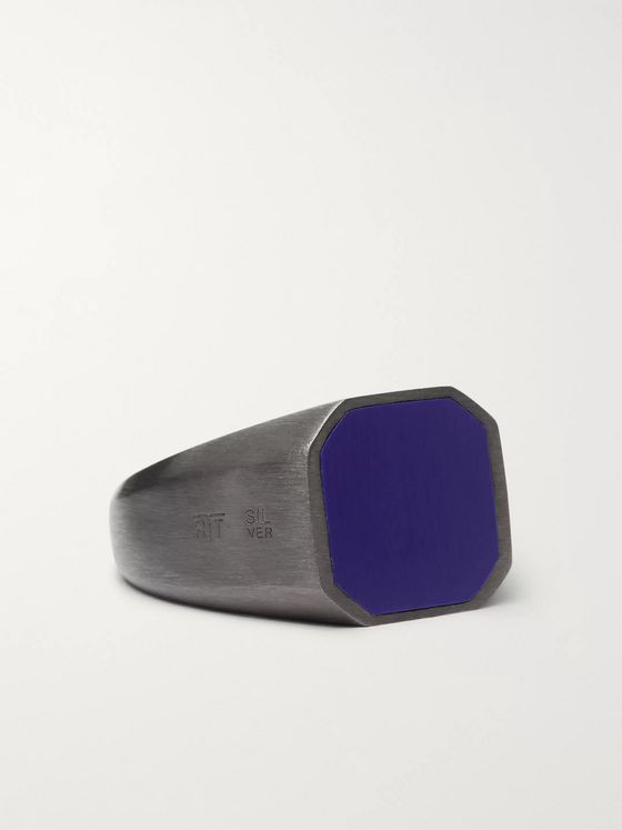 TATEOSSIAN Rhodium-Plated Lapis Signet Ring