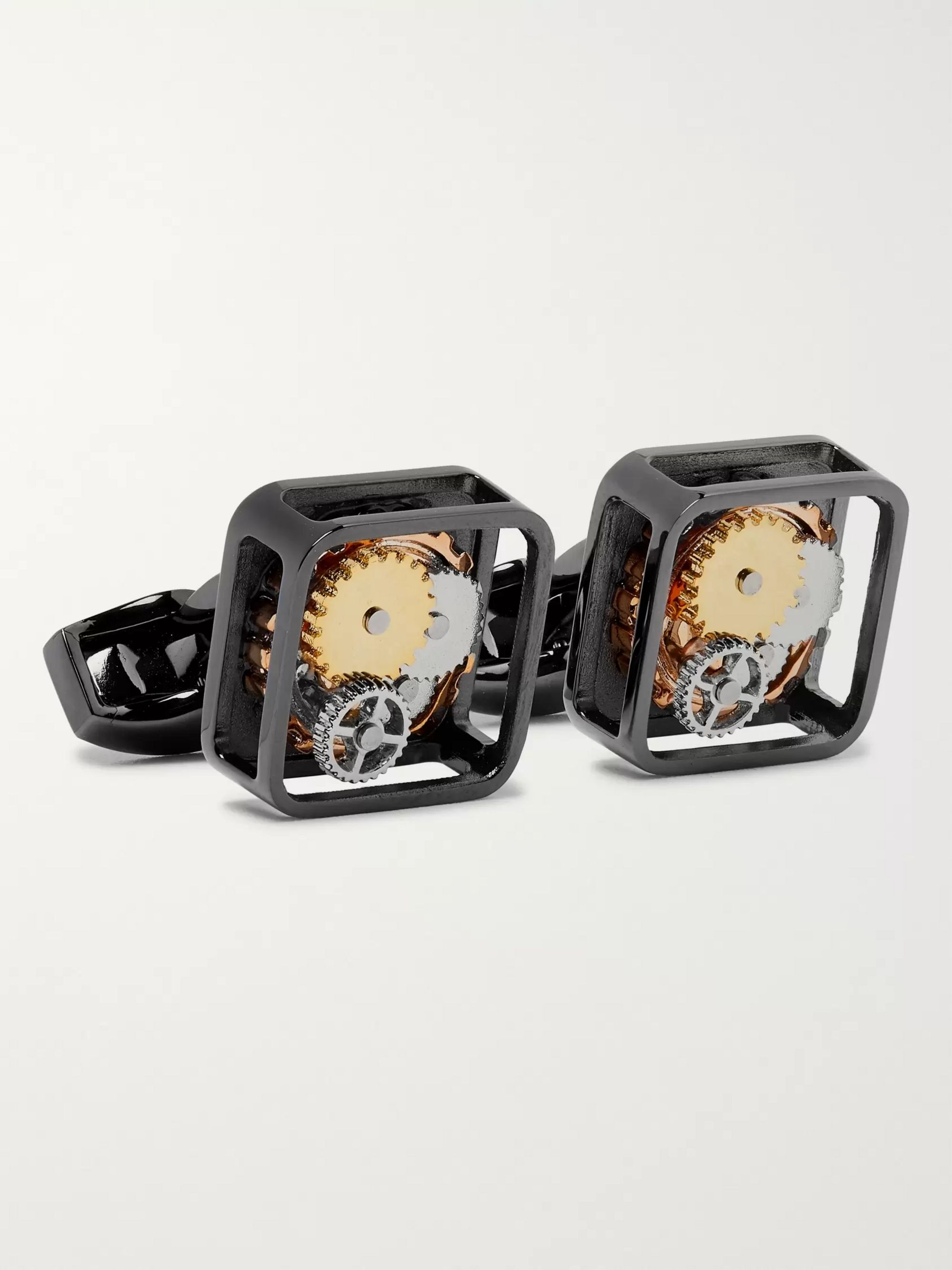 TATEOSSIAN Square Gear Gunmetal-Plated Cufflinks