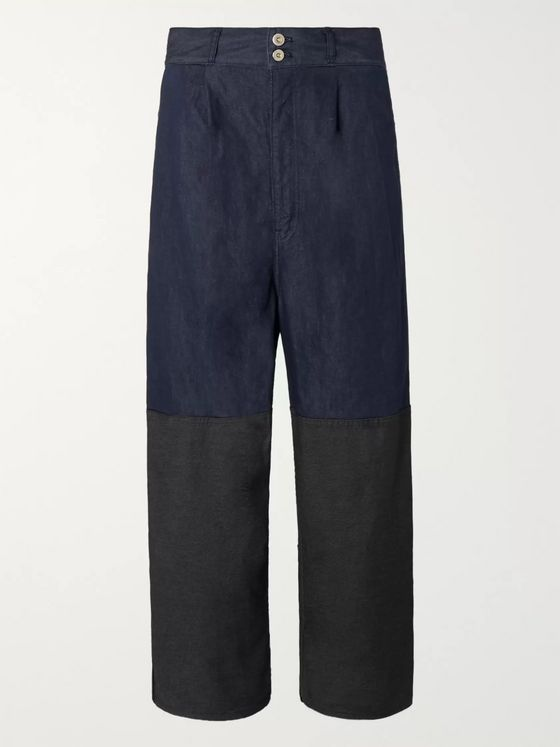 Comme des Garçons HOMME Pleated Garment-Dyed Cotton-Blend Denim Jeans
