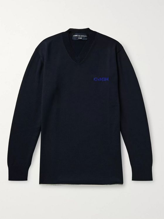 COMME DES GARÇONS HOMME Logo-Embroidered Wool and Cotton-Blend Sweater