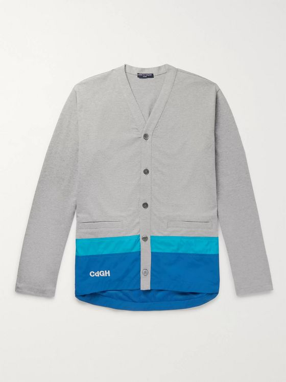 Comme des Garçons HOMME Logo-Embroidered Striped Shell-Trimmed Cotton Cardigan