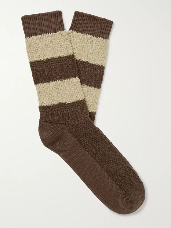 Thunders Love Link Striped Egyptian Cotton-Blend Jacquard Socks
